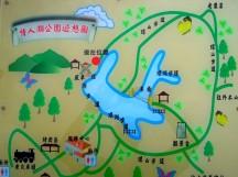 「情人湖」地形圖。情人湖環湖步道平整易走,約 30 分鐘即可輕鬆走完全程~