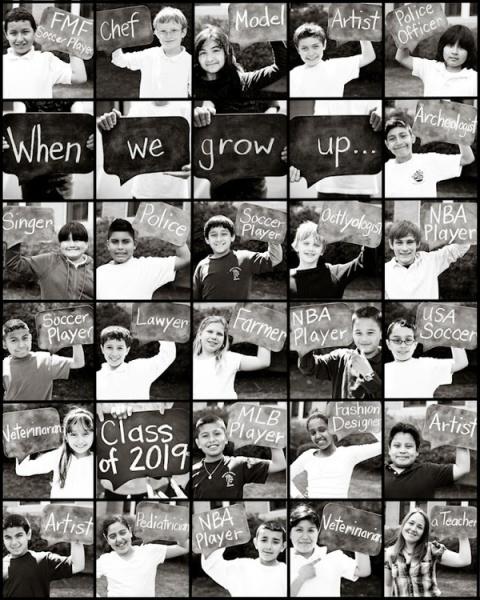 一群四年級學生夢想的志願拼貼照(版權屬於原作者 Christine Kay)