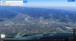 蘭陽平原鳥瞰圖,員山鄉就位於雪山山腳下,約 50% 面積屬於山區、50% 面積屬於平原,因此,伏流就常於山區、平原交會的員山地區湧出地表,蓄積成為埤塘(翻攝自 Google Map)
