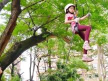 Ann 專心地完成教練提醒的動作,成功攀上約三層樓高的樹幹~